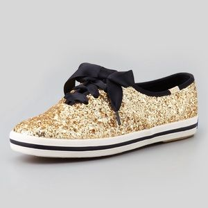 Keds x Kate Spade gold glitter sneakers